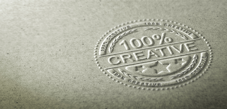 3D illustration of an embossed stamp with the text 100 percent c